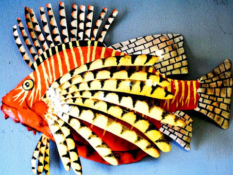 "Lionfish Wall Mount Metal Replica Decor 33"" or 26"" Long 3D"