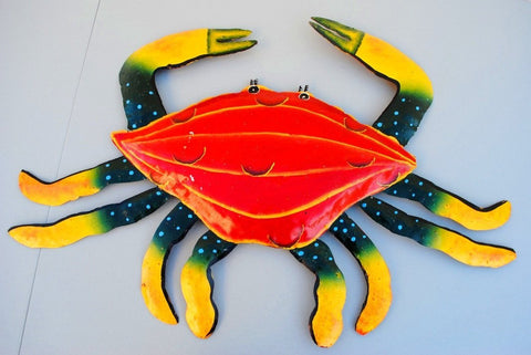 "Crab Wall Mount Metal Replica Decor 55"" 33"" Long 3D"