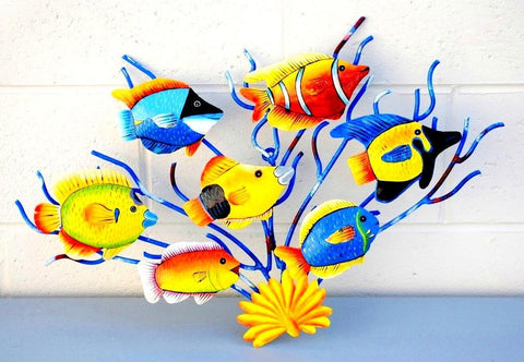 "Ocean Sea-Life Scene 3D Wall Mount Metal Replica Decor 22"" 7 Fish"