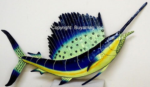 Sail Fish 3D Wall Mount Metal Replica Decor 43 Long