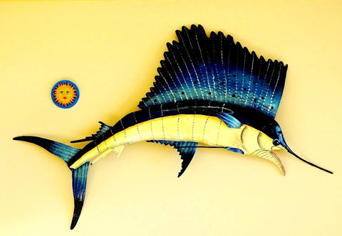 "Sail Fish 3D Wall Mount Metal Replica Decor 60"" or 39"" Long"