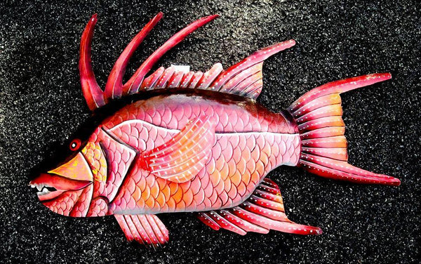 "Hogfish Wall Mount Metal Replica Decor 42"" or 25"" Long 3D"