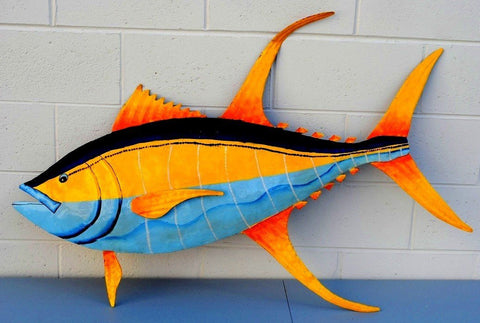 "Tuna Fish Wall Mount Metal Replica Decor 49"" or 30"" Long 3D"