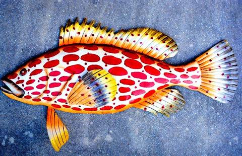"Strawberry Grouper Fish Wall Mount Metal Replica Decor 33"" or 30"" Long 3D"