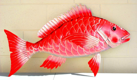 "Red Snapper Fish Wall Mount Metal Replica Decor 49"" or 26"" Long 3D"