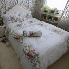 Load image into Gallery viewer, 100% Cotton Whte Lace edge Ruffles Rose Duvet Set - LINENS