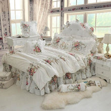 Load image into Gallery viewer, 100% Cotton Whte Lace edge Ruffles Rose Duvet Set - White / Full - LINENS