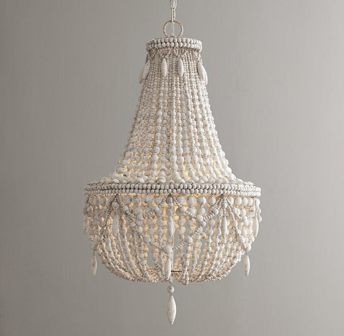 Antique White Wood Bead Chandelier - Lighting