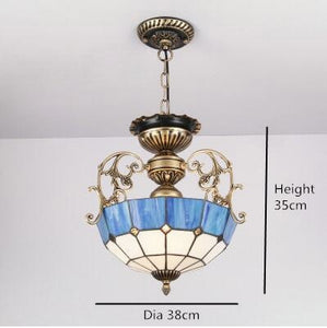 Euroepan Style Chandelier Blue Shade - Black - Lighting