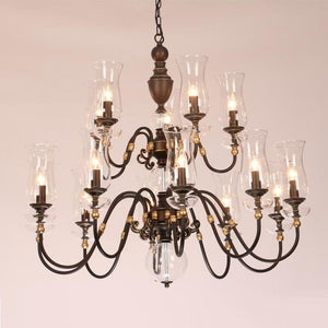 European Vintage Art Chandelier Glass Lampshade - 15 lights - Lighting