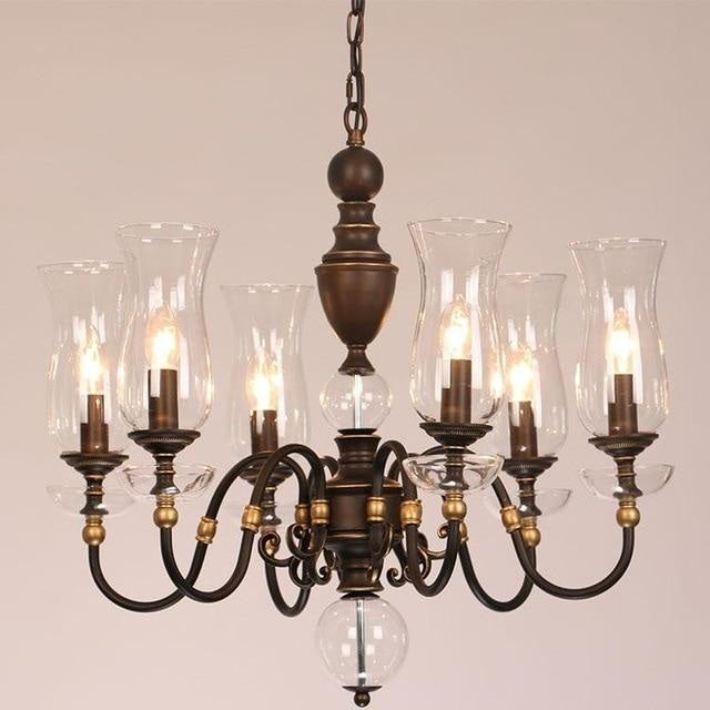 European Vintage Art Chandelier Glass Lampshade - 6 lights - Lighting