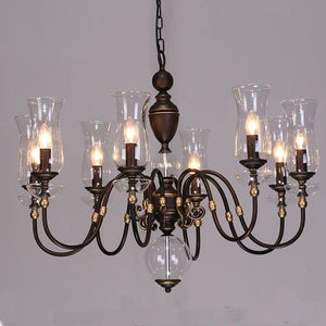European Vintage Art Chandelier Glass Lampshade - 8 lights - Lighting