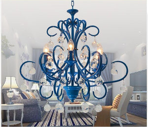Nordic Vintage Blue Crystal Chandelier - Lighting