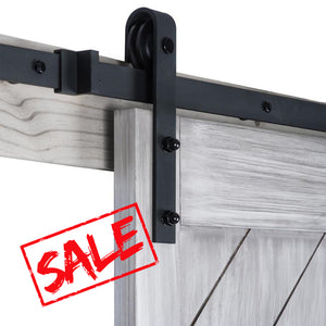 CRAZY SALE 6.6ft  Antique Steel Bent Roller Sliding Barn Door Hardware Kit For Wooden Closet Door