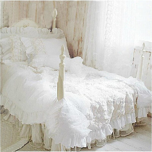 Romantic White Lace Duvet Cover Set - LINENS