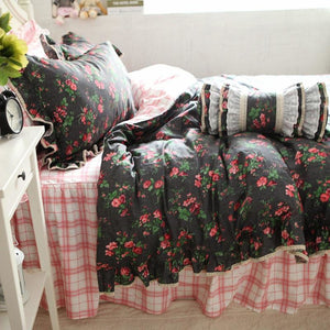 Ruffle Rose Duvet Cover Classic Plaid - LINENS