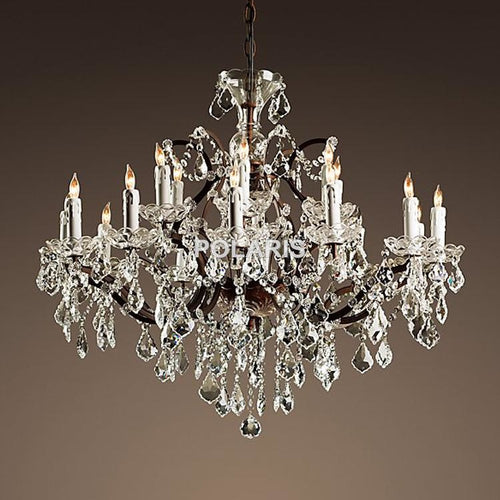 Vintage Rustic Crystal Chandelier Candle - Lighting
