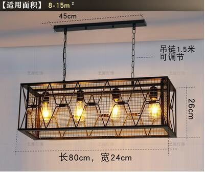 Vintage Wrought Iron Industrial Chandelier - 4 heads / White light - Lighting