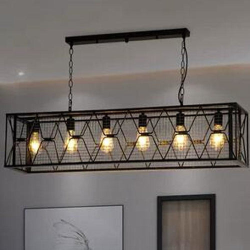 Vintage Wrought Iron Industrial Chandelier - Lighting