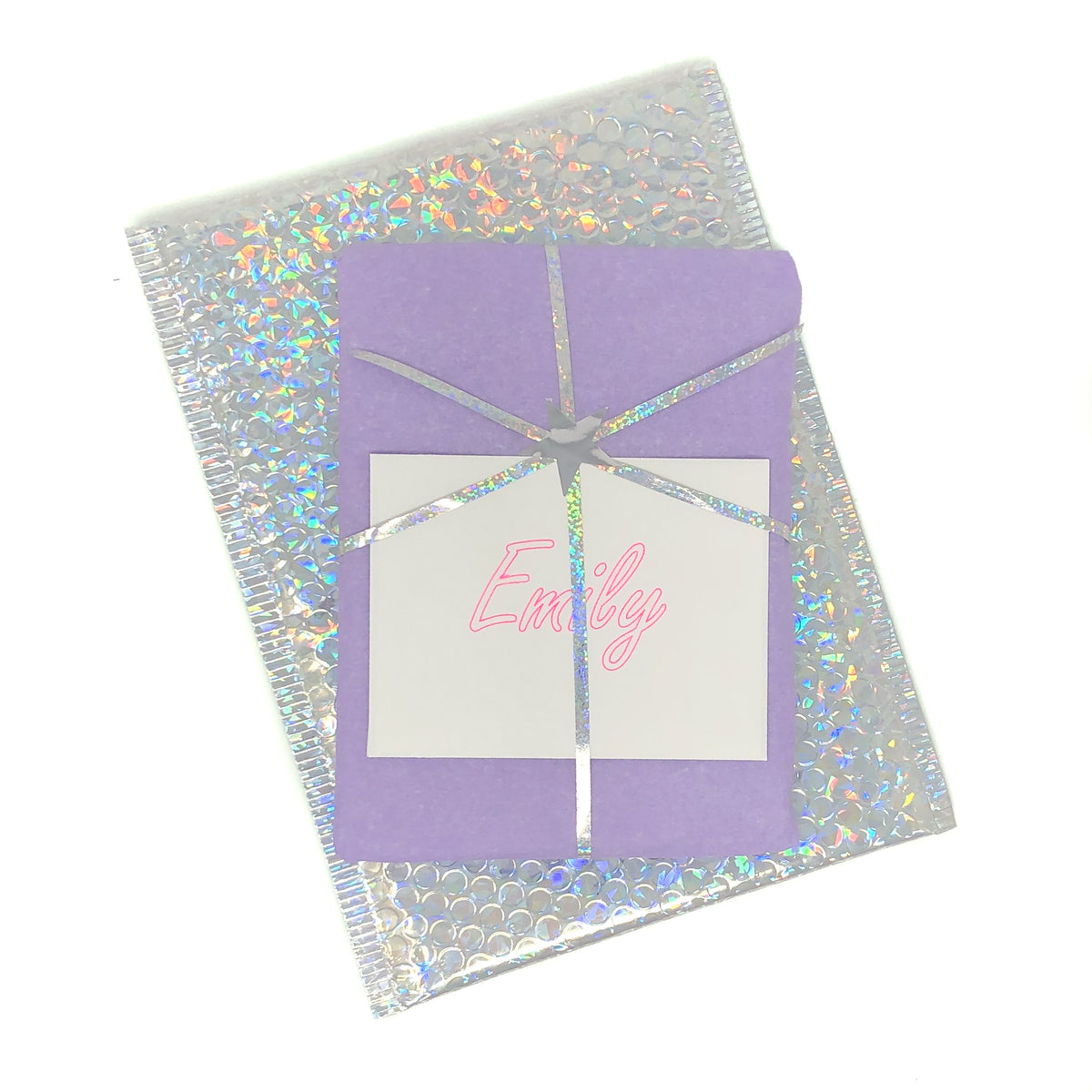 a632e061307 Each gift is hand wrapped and delivered in our sparkly envelopes with a  personalized card.