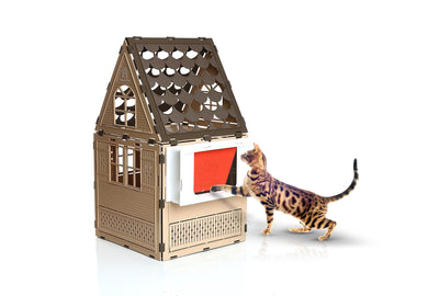 "Studio Flat Extended Cat House w/ Litter Box & Cat Door. Deep Sill version, Fits Window Sills 4+"" to 8"" Deep - Free Shipping"