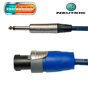 "Neutrik Speakon NL2FX to 1/4"" NP2X Jack Plug 1.5mm Van Damm Blue Tour Cable"