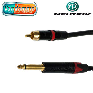 "Neutrik B/Gold  Red NYS373 RCA/Phono to Mono NP2X-B 1/4"" Jack Van Damme Cable"