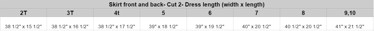 Dress measurements