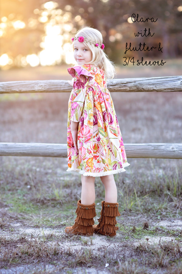 Clara dress with flutter and long sleeve