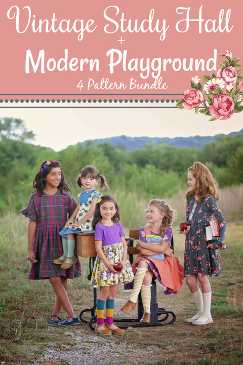 Vintage Study Hall + Modern Playground Girls- 4 Pattern Bundle