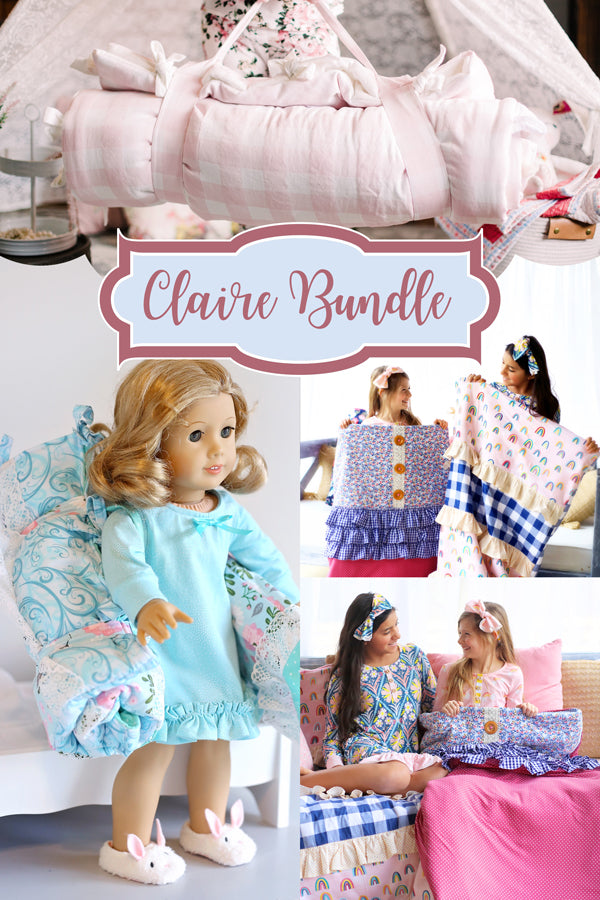 Claire Girl + Doll Sleeping Bag & Pillowcase