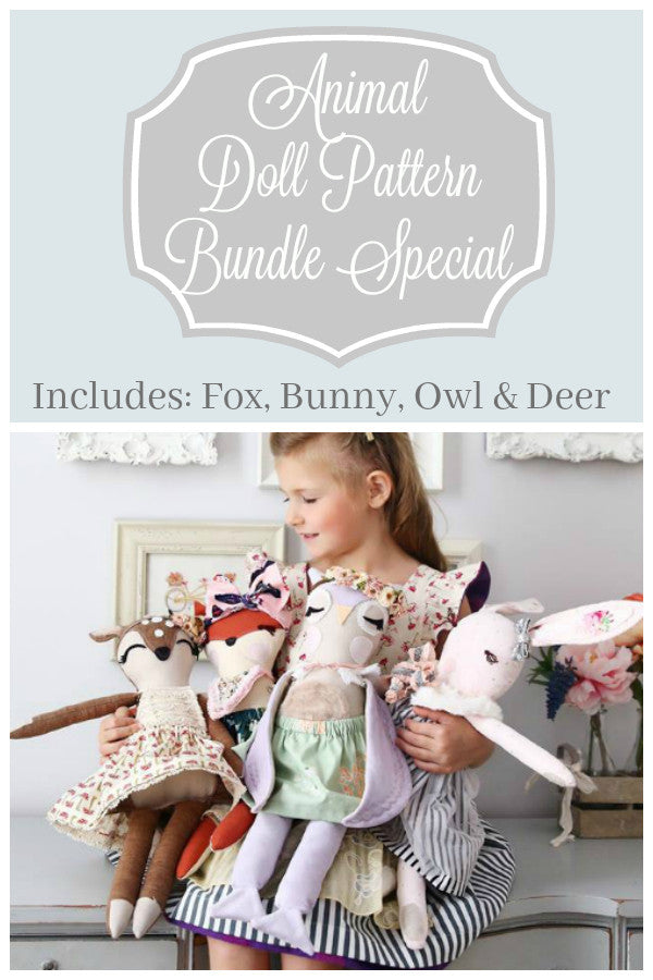 Animal Doll Pattern - 4 Pack Bundle - Violette Field Threads  - 1