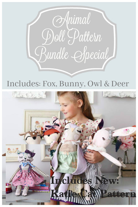 Animal Doll Patterns - 5 Pack (Includes Katie Cat) - Violette Field Threads  - 28