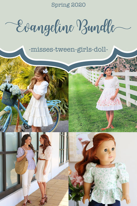 Evangeline Girl + Tween + Misses + Doll Top & Dress Bundle