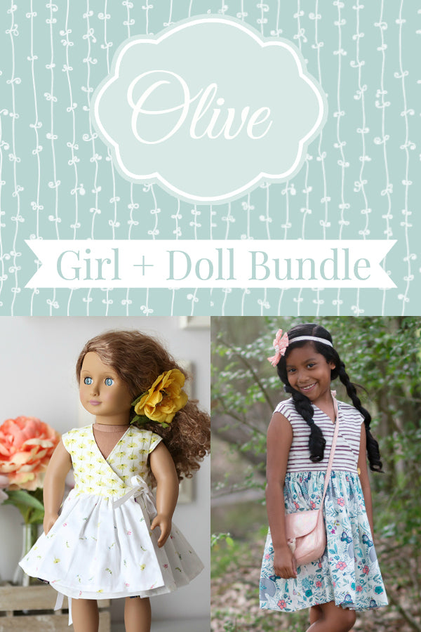 Olive Dress and Top Girl + Doll Bundle