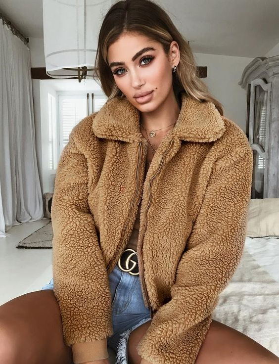 online store top-rated quality modern style Elegant Faux Fur Teddy Bear Bomber Jacket