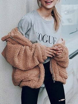 Elegant Faux Fur Teddy Bear Bomber Jacket