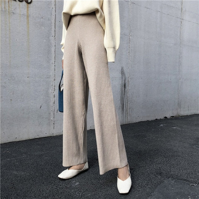 Warm Knitted High Waisted Pants