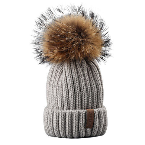 Knitted 100% Fur Pompom Hat