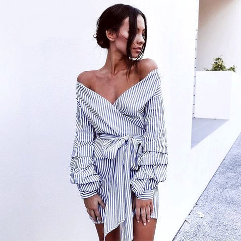 Off Shoulder Striped Shirt Wrap Dress