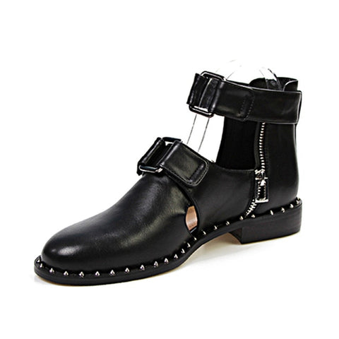 Low Rivet Buckle Cut Out Ankle Boots