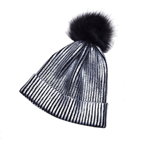 Warm Metallic Knitted Pompom Hat