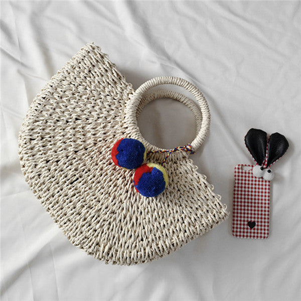 Handmade Moon Straw Beach Bag