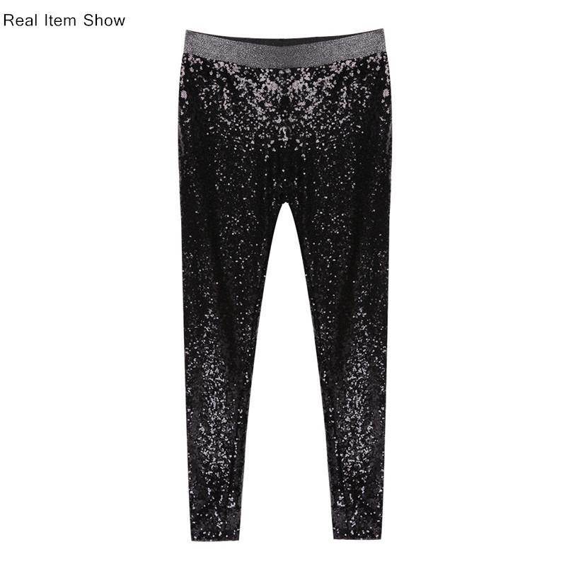 Metallic Sequin High Waisted Skinny Leggings
