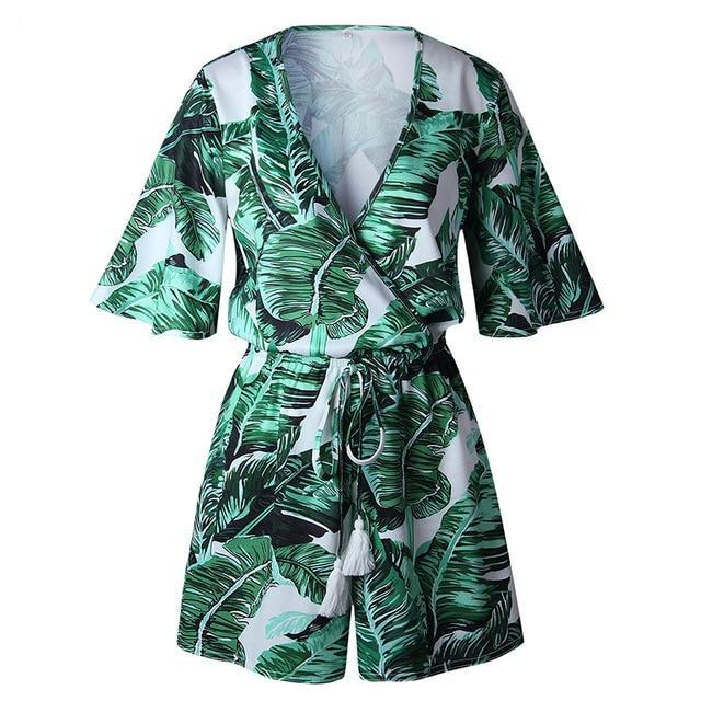 Chic Tropical Deep V Neck Romper