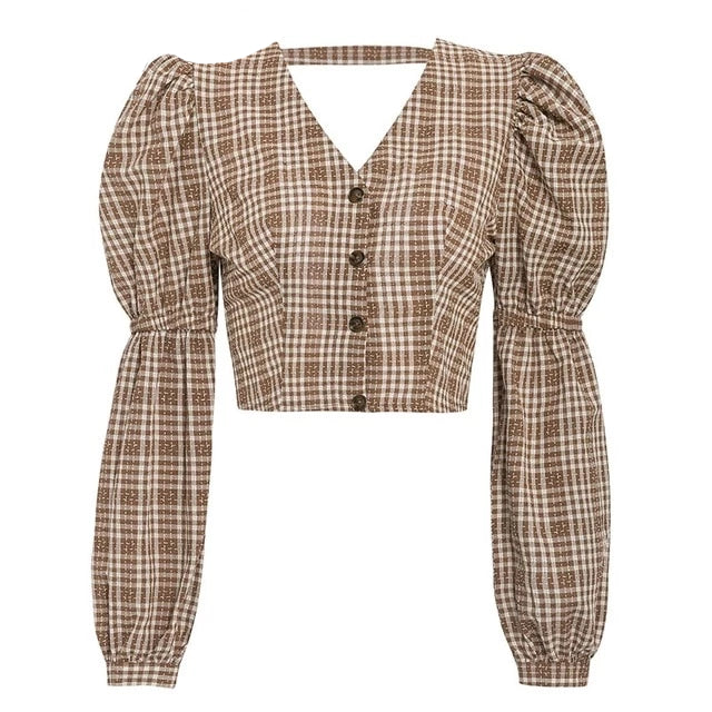 Oversized Backless Vintage Plaid Blouse