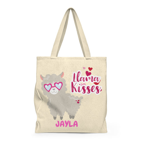 Personalized LLama Kisses Valentine's Day Tote Bag