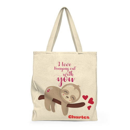 Personalized I love hanging out with you Sloth Valentine's Day Tote Bag