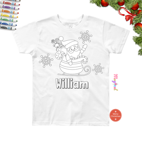 Christmas Santa's Sleigh Kids Washable Personalized Coloring T-shirts