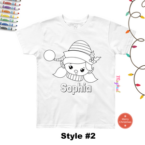 Christmas Faces Kids Washable Personalized Coloring T-shirts